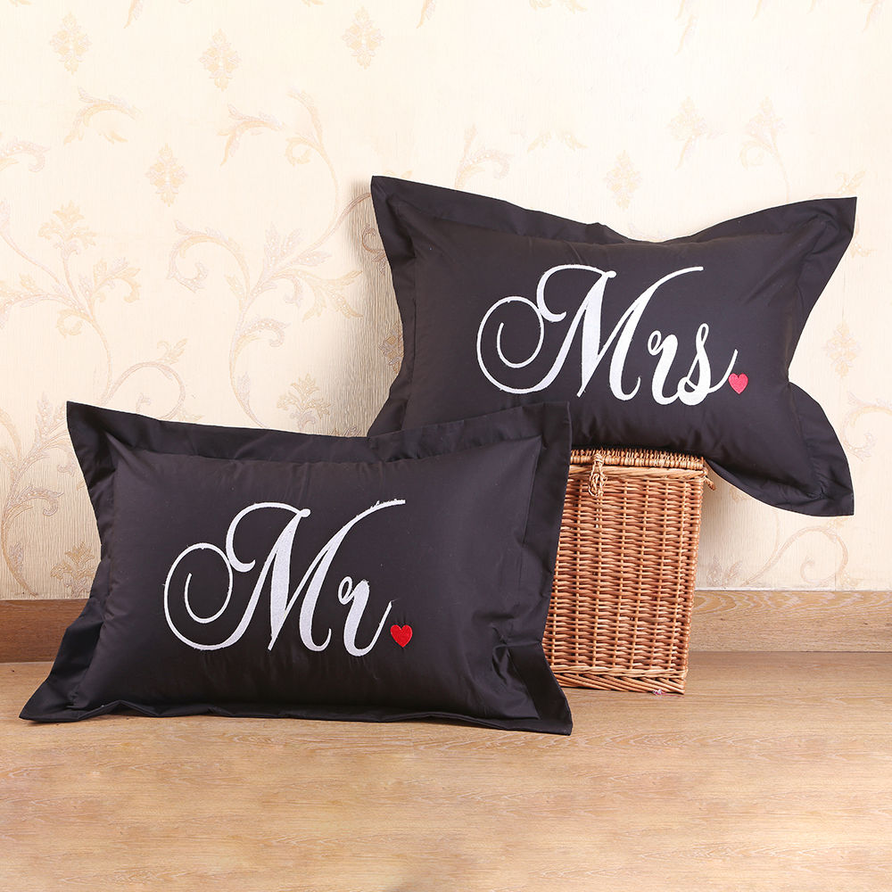 Hopscotch My Gift Booth Set Of 2 Mr And Mrs Pillow Cover Black