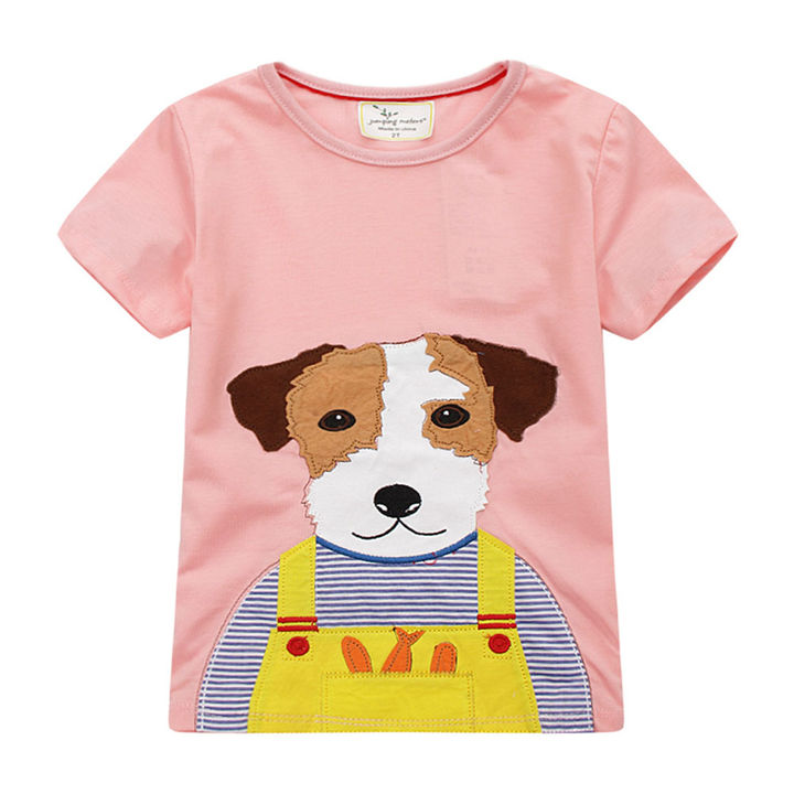 d5151fdd Hopscotch - Jumping Meters - Pink Dog Print T-Shirt