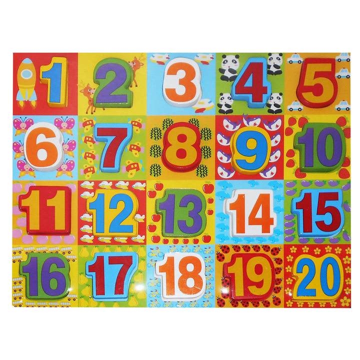 Numbers Wooden Letter Blocks Tray Puzzle
