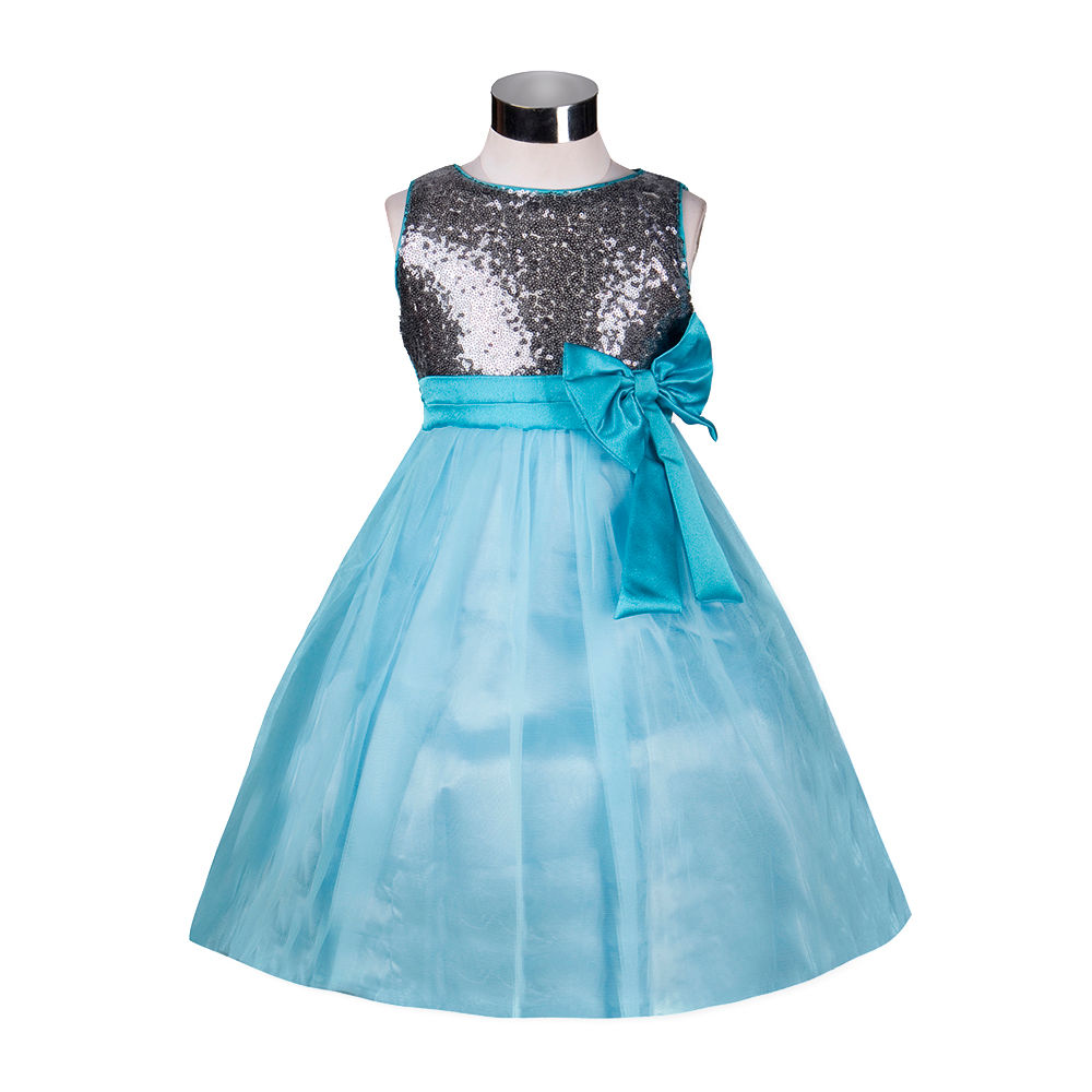 Hopscotch - The KidShop - Grey Sequins Ornamented Aqua Net Party Dress