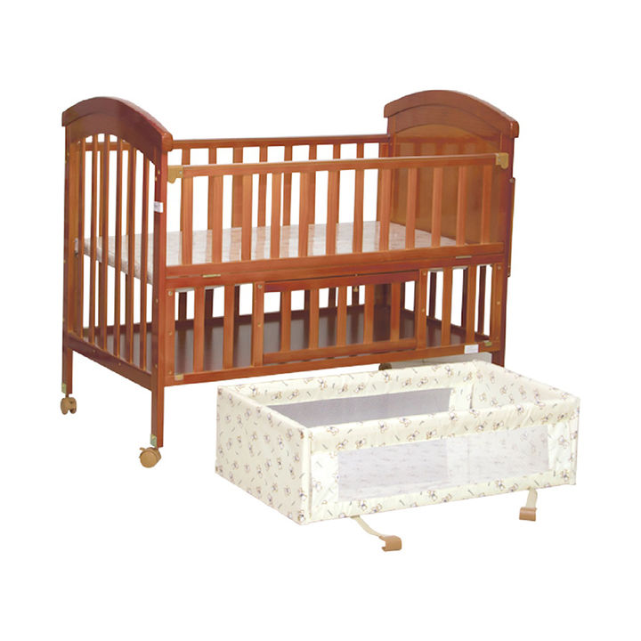 Wooden Baby Cot With Swinging Cradle Adjustable Height Dark Brown