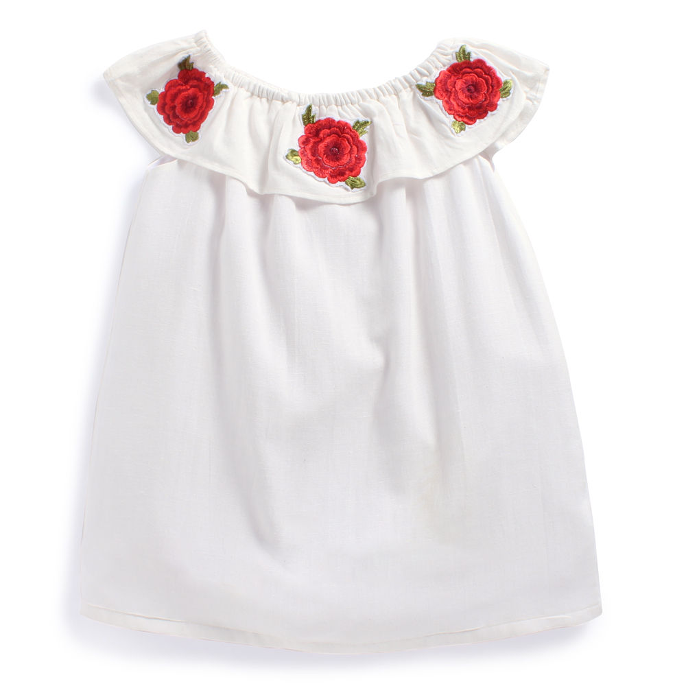 Hopscotch Fairies Forever Stylish White Dress With Red Flowers