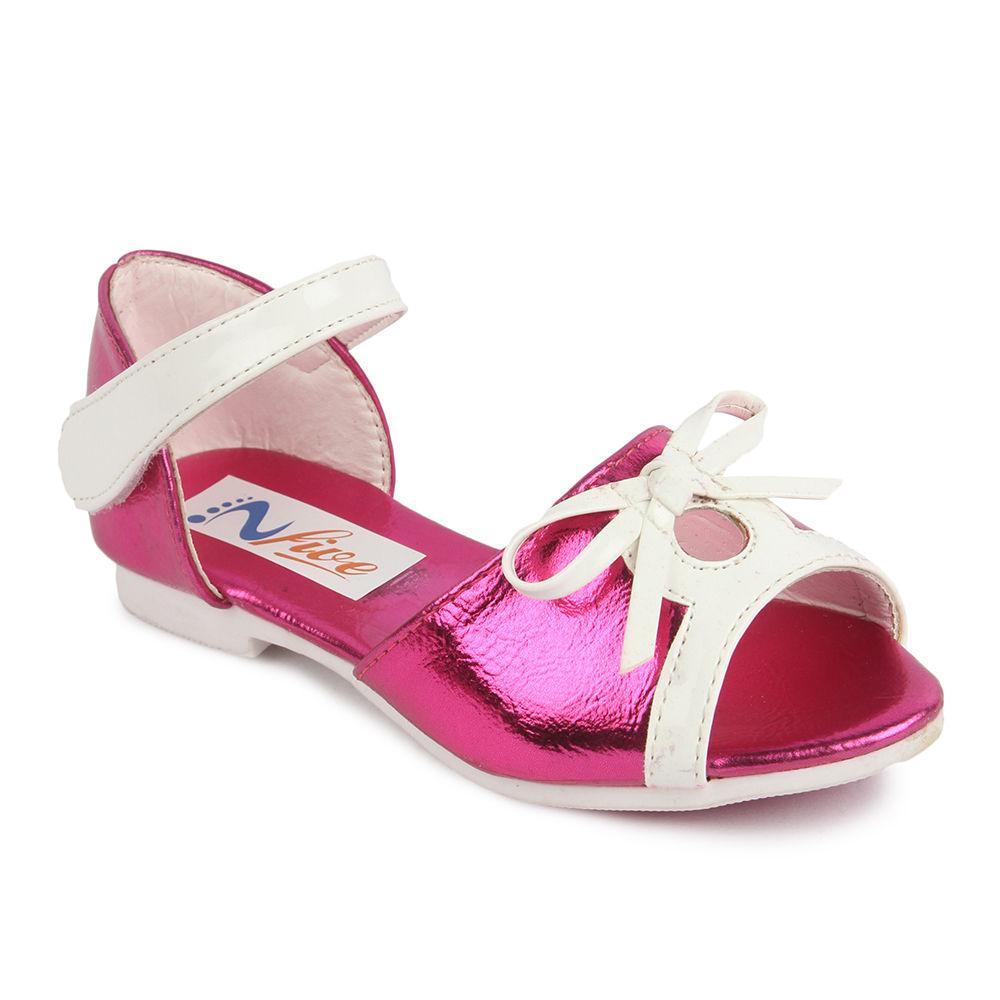 Applique Bow Style Velcro Fuchsia Sandals N80yvmnwO