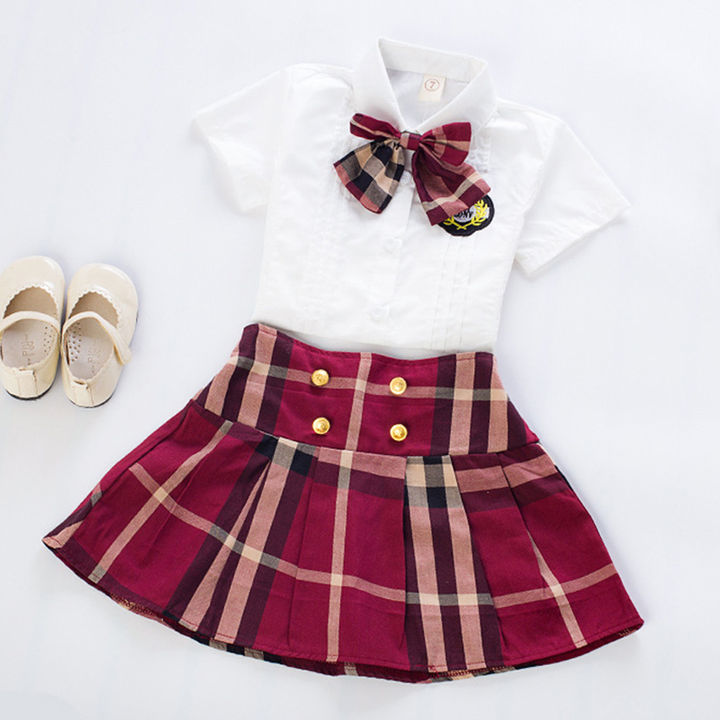 Bow Applique Top And Skirt Set