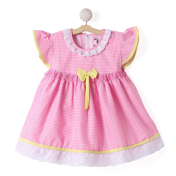 820a4d8d9 Hopscotch - BownBee - Frilled Cotton Dress For Baby Girls - Pink