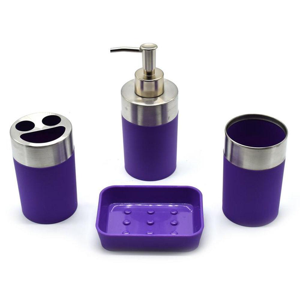 Hopscotch shopnjazz set of 4 acrylic bathroom accessories purple