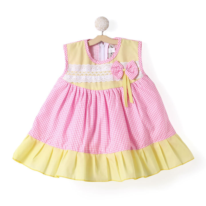 698818c61 Hopscotch - BownBee - Checks Cotton Frock Dress For Baby Girl - Pink