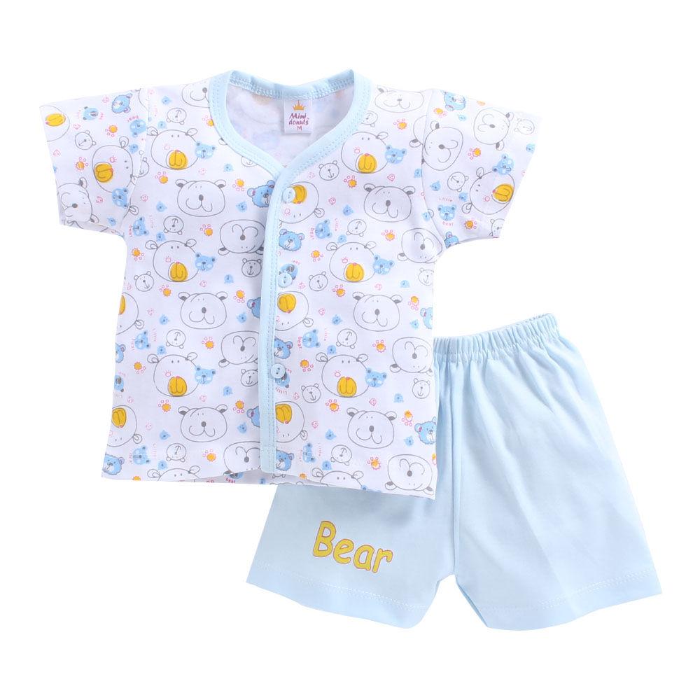 de79180d7d4f Hopscotch - Mini Donut - Bear Print Blue Jabla and Shorts Set