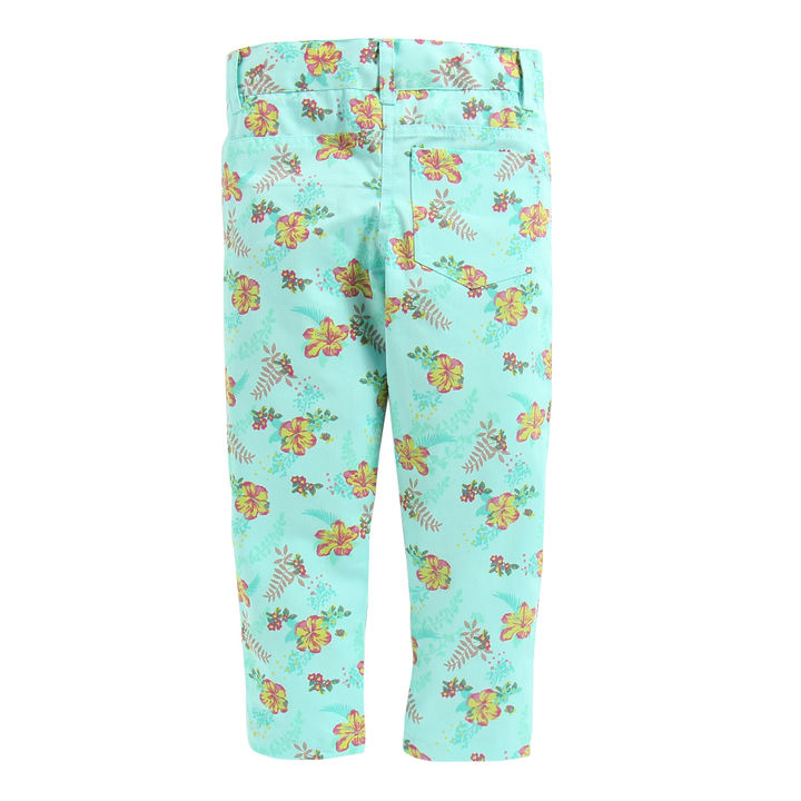 ffb740d8c2 Green Base Floral Printed Twill Pant