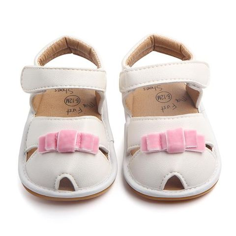 cd2554ffdcad White Sandals With Pink Bow Applique