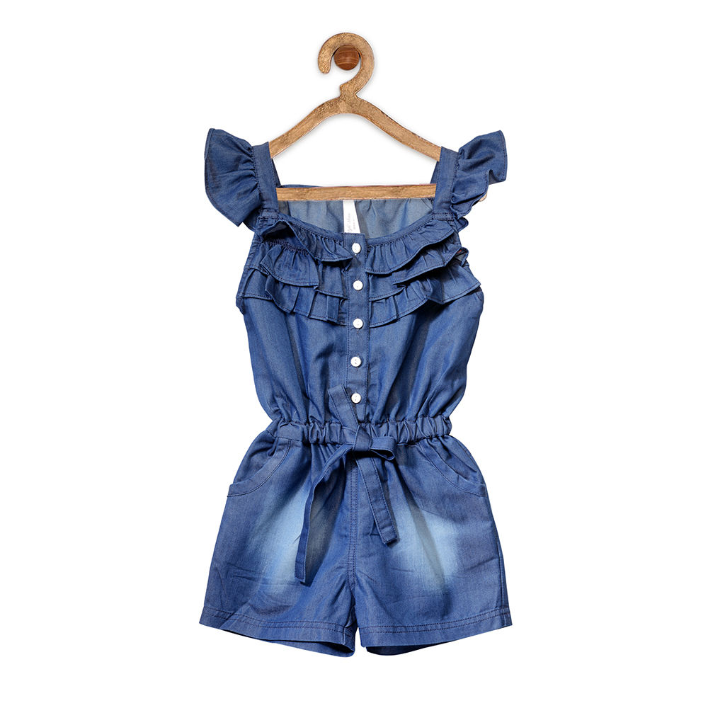 73d8fbd609 Hopscotch - StyleStone - Blue Denim Ruffled Jumpsuit