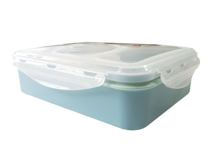 6ee7e20d448e 4 Compartment Plastic Bento Lunchbox for Kids - Set of 3 pieces