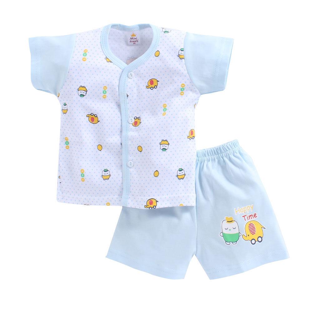 eca524a736d6 Hopscotch - Mini Donut - Happy Time Print Blue Jabla and Shorts Set