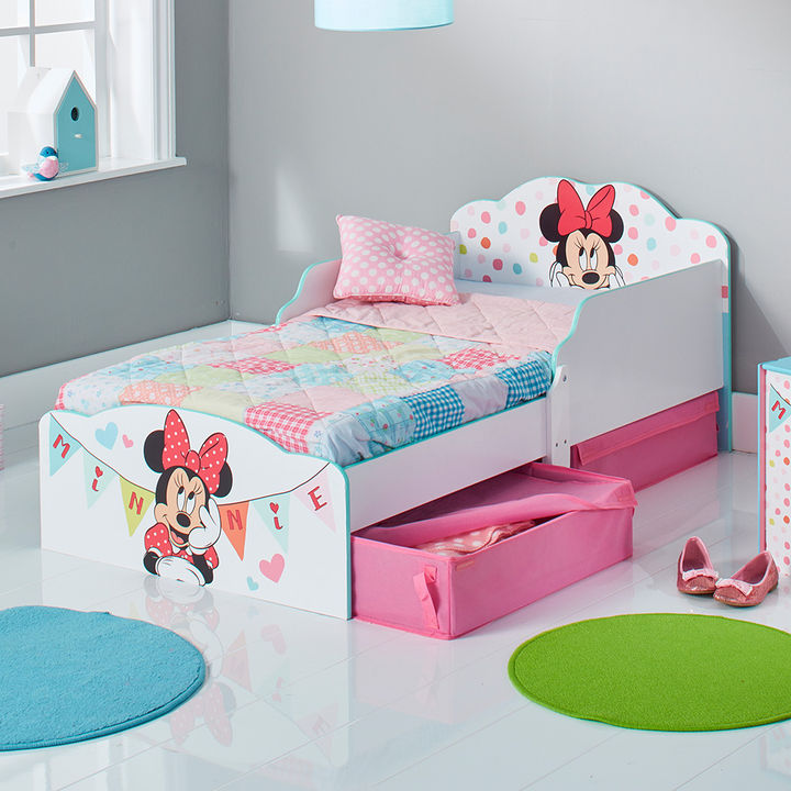 competitive price 6da27 bcdae Minnie Mouse Kids Toddler Bed With Underbed Storage