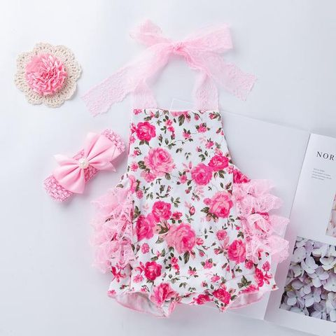5333d2ff76a5 Pink Flower Print Halter Neck Onesies with Headband