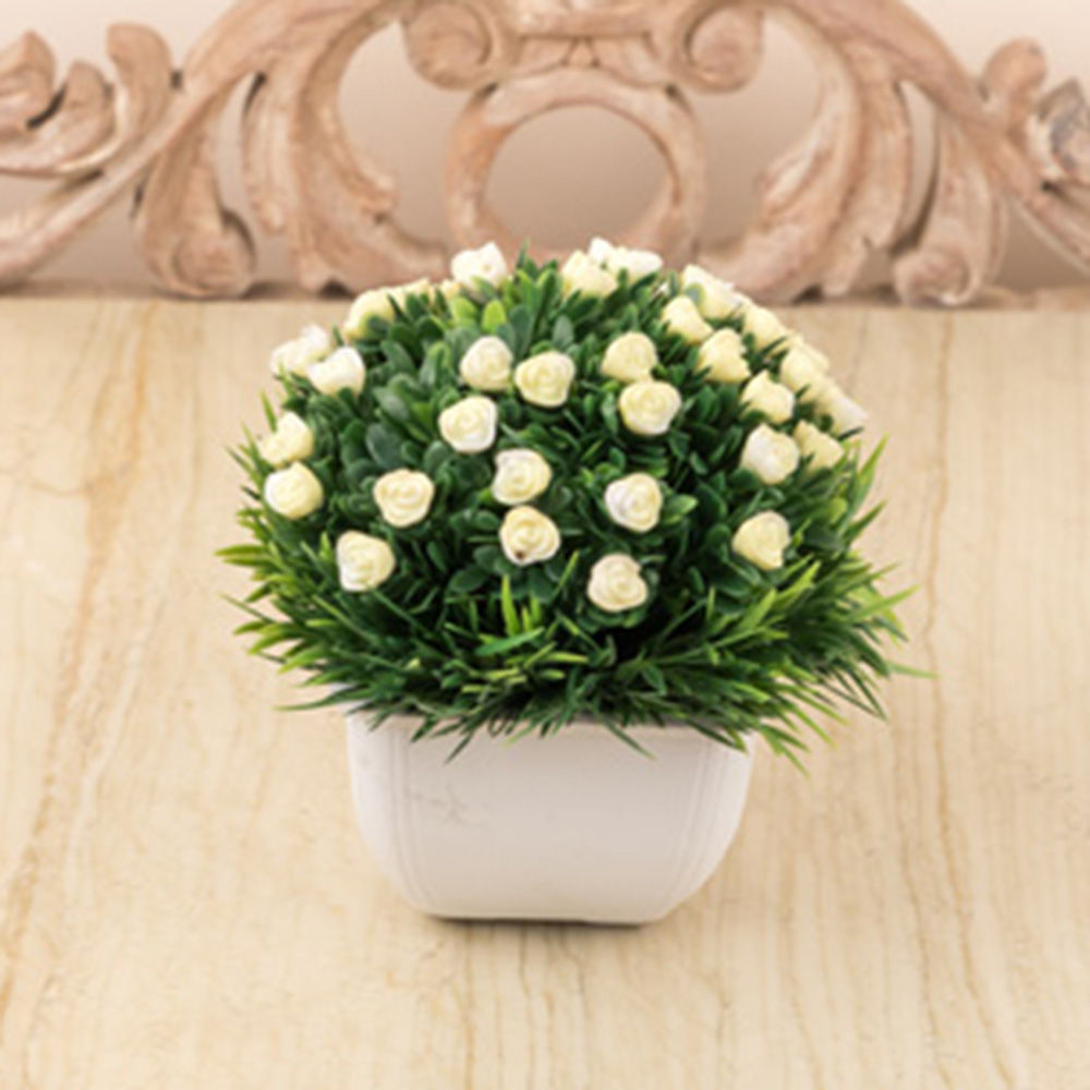 Hopscotch A Vintage Affair Light Yellow Flowers In Cute White Vase