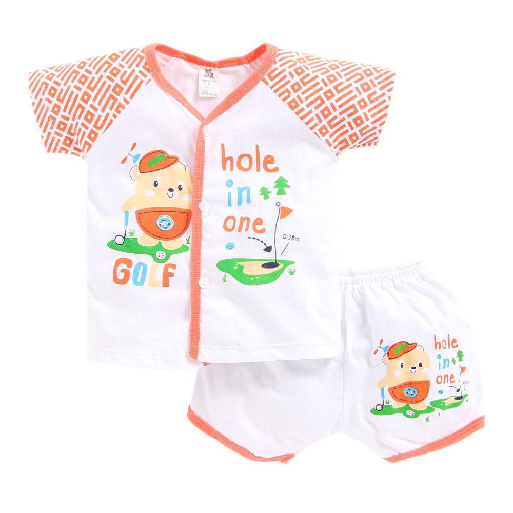 0c4214ddd952 Hopscotch - Seven Rainbows - Golf Print Orange Jabla and Shorts Set
