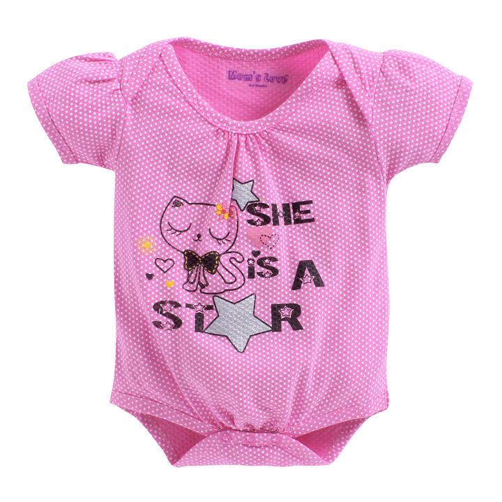 6ad779062 Hopscotch - Mom's Love - She Is A Star Print Pink Onesies