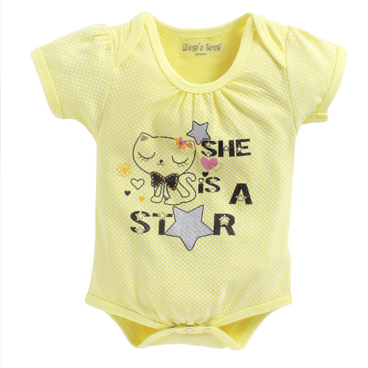 d49446d66 Hopscotch - Mom's Love - She Is A Star Print Lime Onesies