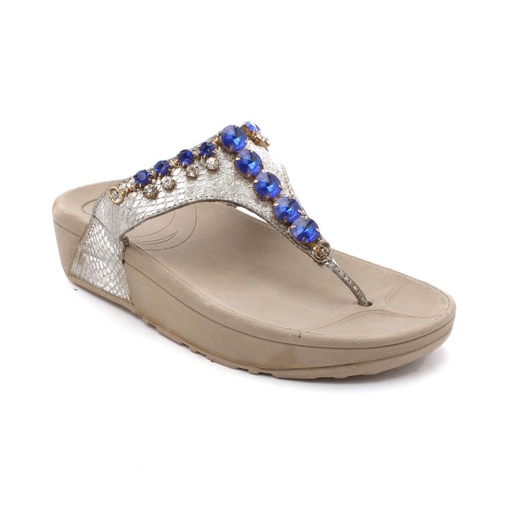 b92983027b6e Hopscotch - Flori Kids - Blue And Silver Diamond Studded Sandals