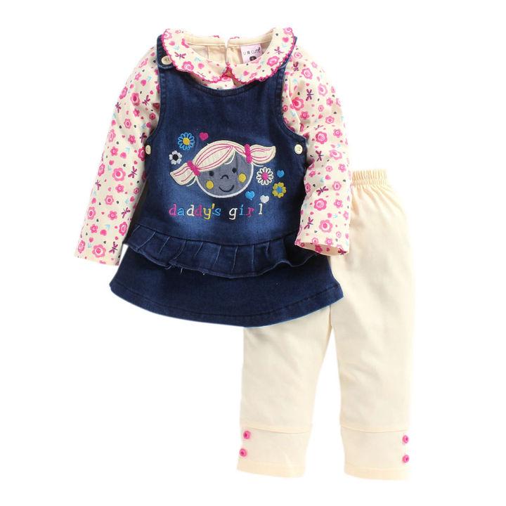 3e5036e01 Hopscotch - U R Cute - Pink Daddy Girl Print Denim Dress with T-Shirt and  Leggings Set