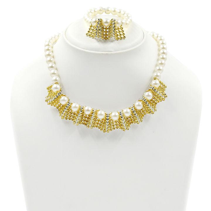 Lace Necklace And Bracelet Set Gold