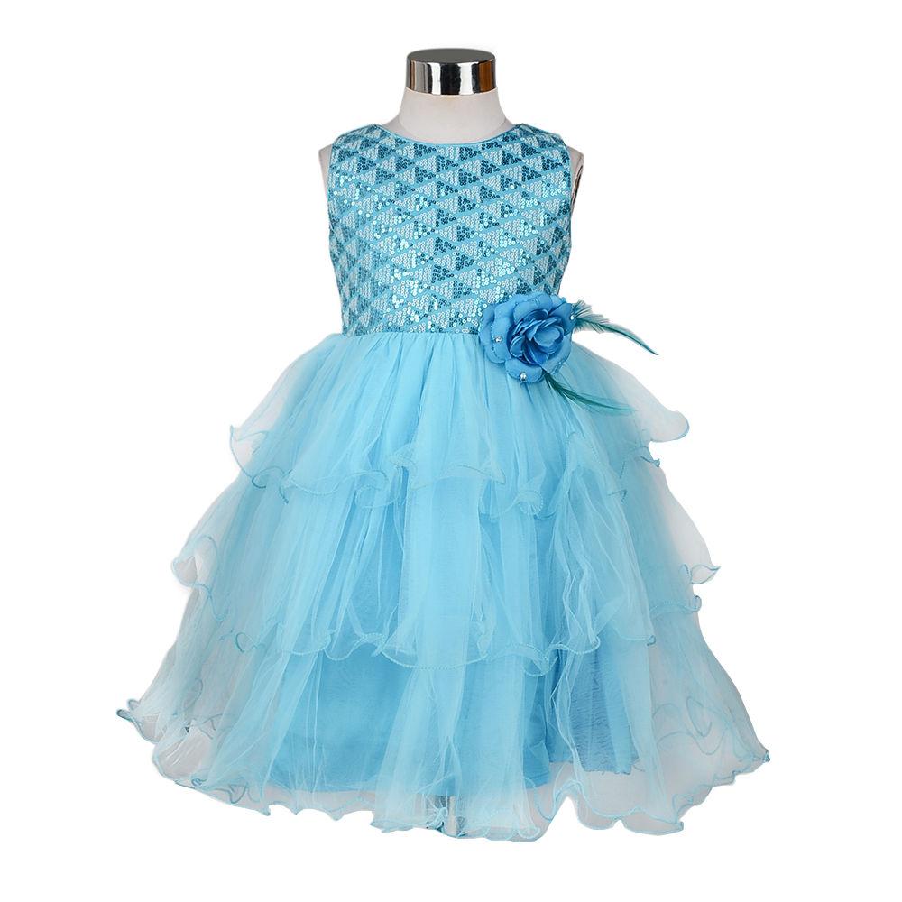 Hopscotch the kidshop blue white triangle sequins embellished hopscotch the kidshop blue white triangle sequins embellished multi layered dress with blue flower izmirmasajfo