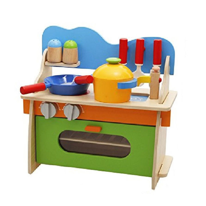 Buy 3d Assembled Wooden Pretend Play Cooking Kitchen Set Toy With