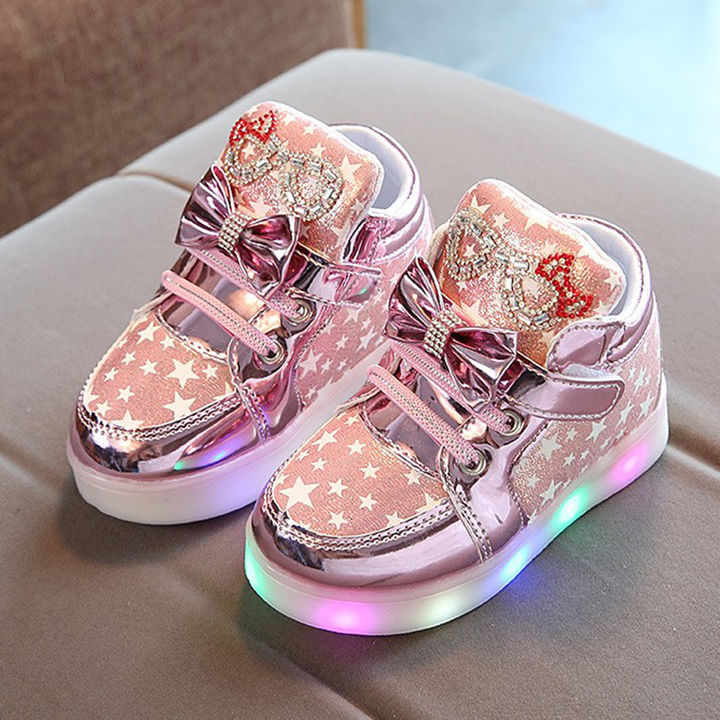 1978a823dd11f9 Hopscotch - Candy baby - Pink Stars Printed LED Shoes