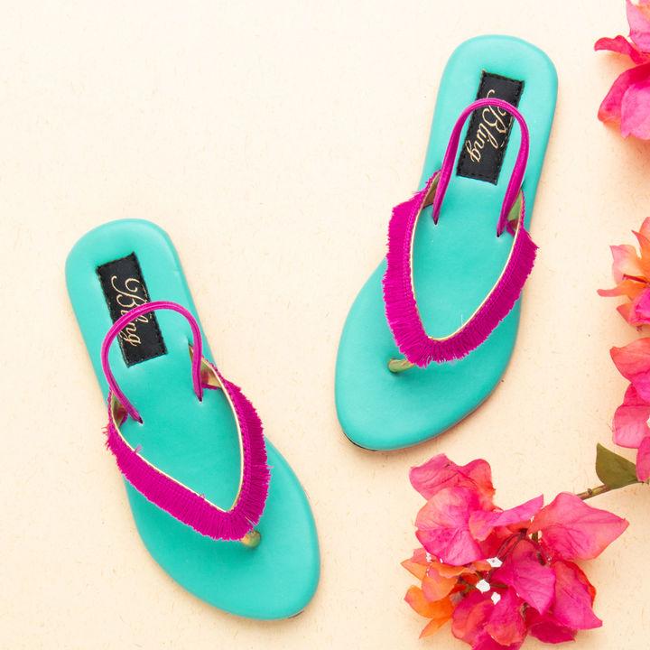 183914935 Hopscotch - Bling Footwear - Blue Sandals With Pink Tassels