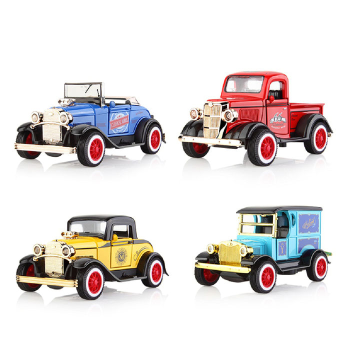 Classic Set Of 4 Battery Operated 1:36 Die Cast Metal Pull Back Vintage Car  Toy With Light And Sound