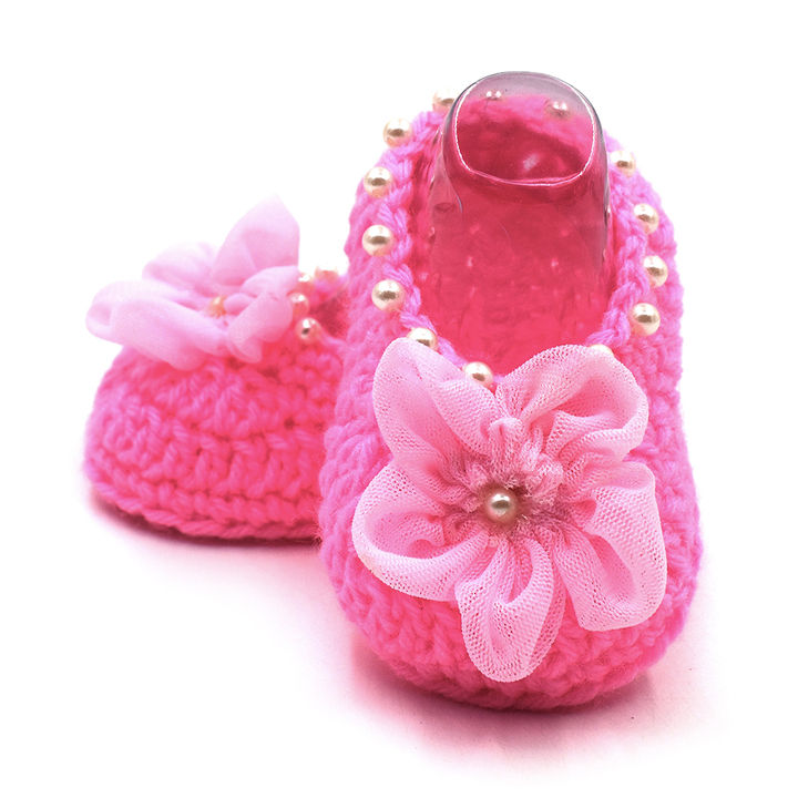 ae065be0753c2 Buy Pink Crochet Booties With Flowers And Pearls online @ ₹349 ...