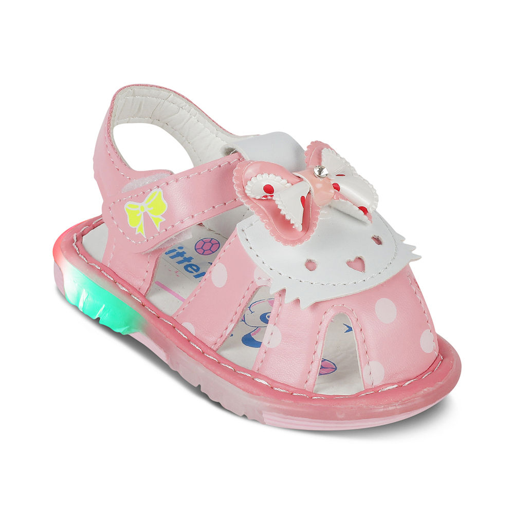 4d412f647 Hopscotch - Kittens - Pink Polka Dot LED Sandals With Bow