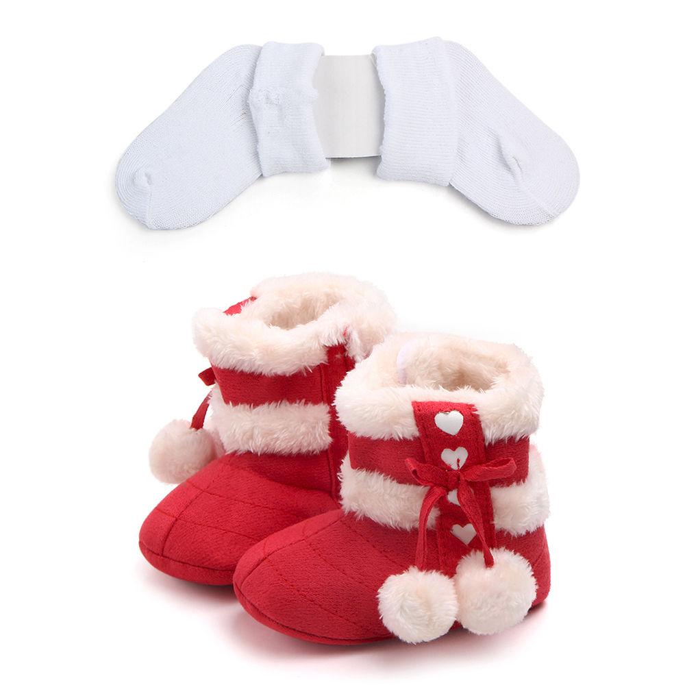9ef58f97e289 Hopscotch - Zia Shoes - Red Furry Boots And Socks Set
