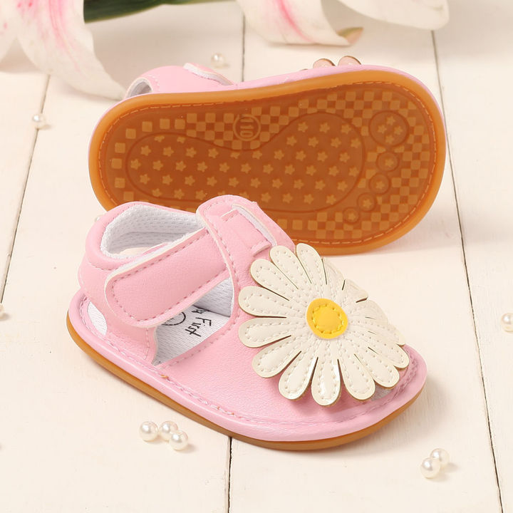 3ba735ad0ad Hopscotch - LCL By Walktrendy - Pink Sandals With White Flower Applique