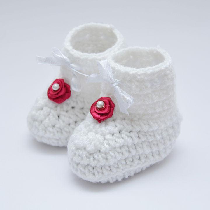 65d892468e1c9 Handmade Crochet Knit Booties - White