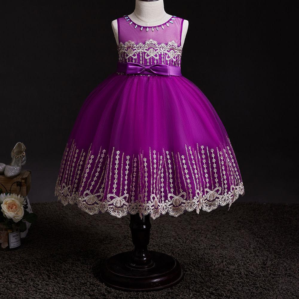 bea1547abfa4c6 Hopscotch - Si Rosa - Adorable Purple Bow Applique Sleeveless Dress
