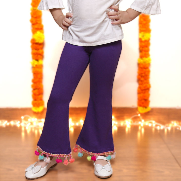 da2baac637c Hopscotch - Dchica - Colorful Pom Poms Bottom Flair Leggings For Girls