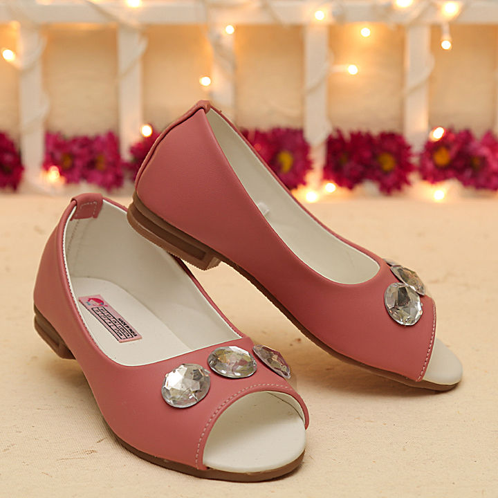 78b3ddc96709 Hopscotch - Dchica - Blush Pink Blingy Peep Toe Shoes For Girls