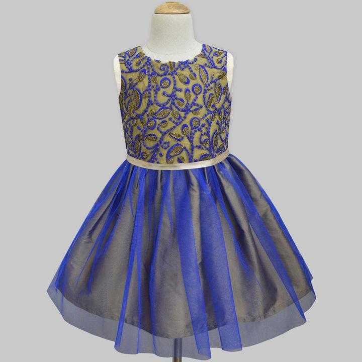 6df559f5ff92b Hopscotch - A.T.U.N - Garden Zardozi Embroidered Royal Blue-Gold Tulle  Overlay Dress