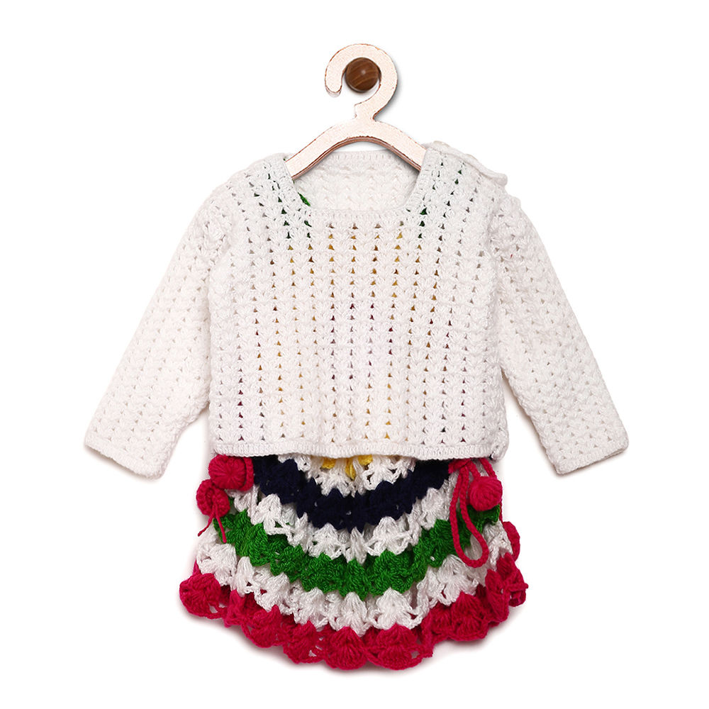a3d8ac3a2 Hopscotch - Mayra Knits - Multicolor Woollen Dress and Shrug Set