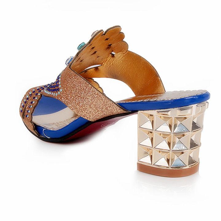 0ca87f9ca Hopscotch - Vogue lady - Women Blue And Gold Studded Block Heel Sandals