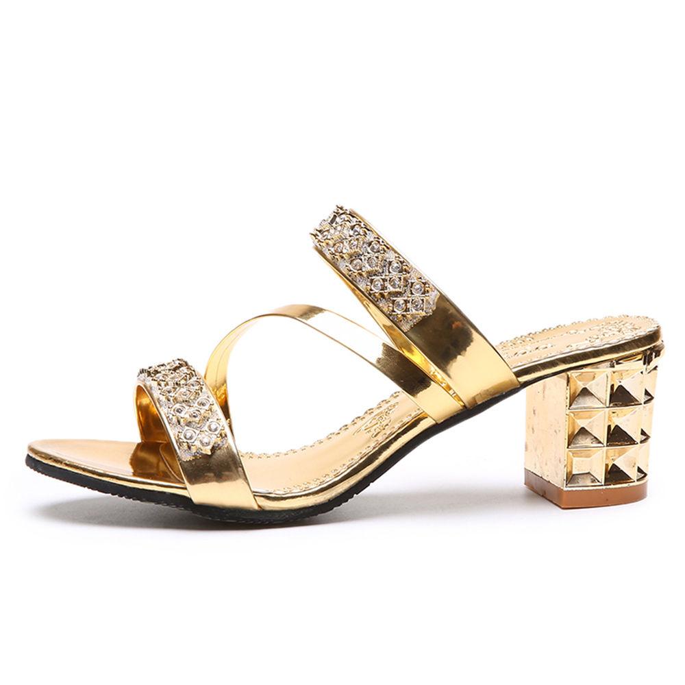 c09d10ceb Hopscotch - Vogue lady - Women Gold Diamond Studded Block Heel Sandals
