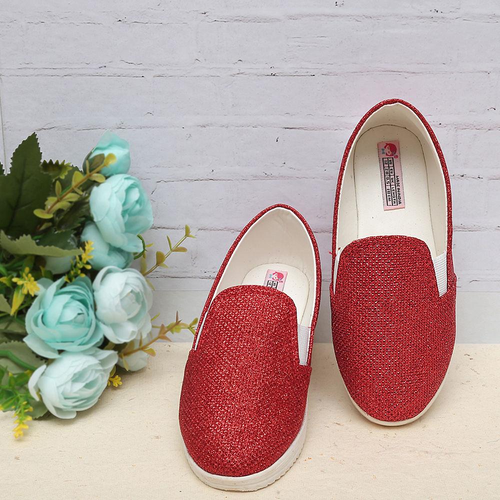 24acbf0bd09e Hopscotch - Dchica - Red Shimmer Slip On Shoes