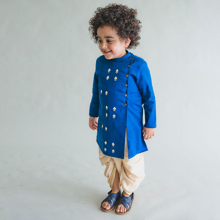 6c1ff72cf Hopscotch - Tiber Taber - Blue Flower Embroidered Nawaab Buta Kurta Dhoti  Set