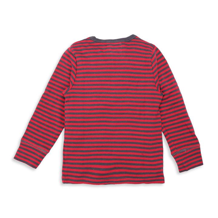 Stripe Print Full Sleeves Red T-Shirt
