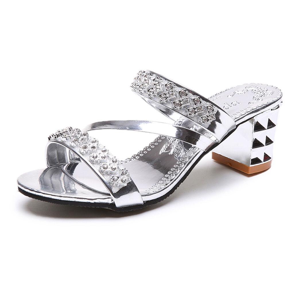 1e04fce72 Hopscotch - Vogue lady - Women Silver Diamond Studded Block Heel Sandals