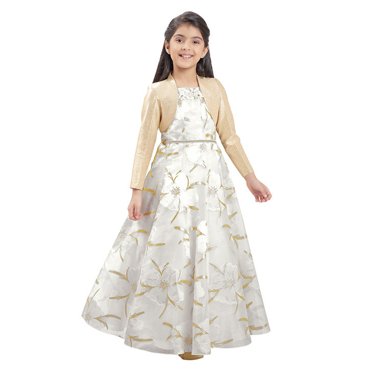 370435ed9b Hopscotch - Tiny Baby - Fancy Printed Long Gown - Cream