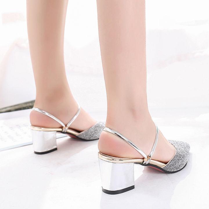 2277aec6c Hopscotch - Vogue lady - Women Shimmery Silver Block Heel Sandals
