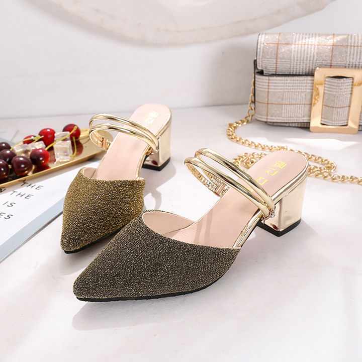 36acc1c62 Hopscotch - Vogue lady - Women Shimmery Gold Block Heel Sandals